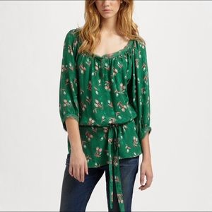 Rebecca Taylor Green Silk Blouse with Tulip Print
